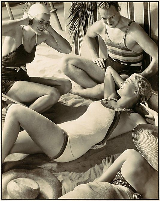 Grancel Fitz  (American, 1894–1963). [Studio (?) Beach Scene Advertisement (?); 3 Woman and Man in Bathing Suits, Posed Reclining or Sitting on Sand], 1930s. The Metropolitan Museum of Art, New York.  Ford Motor Company Collection, Gift of Ford Motor Company and John C. Waddell, 1987 (1987.1100.388)