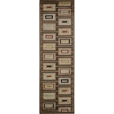 This rug combines cool contemporary style with warm chocolate coloring and beige, red, green, blue and ivory accents. The 90% poly and 10% wool material is