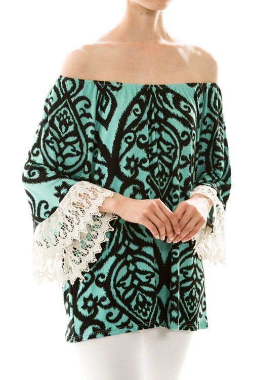 Jade and Black Lace Sleeve Top - #blondellamydean #plussizefashion #plussize #curves