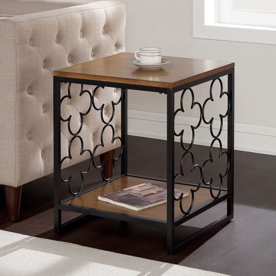 Black Pecan Top End Table Coffee style Modern Console Living Room Home Décor New