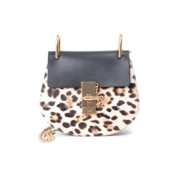 CHLOE' Drew mini leather and leopard-print calf hair shoulder bag (2 000 AUD) ❤ liked on Polyvore featuring bags, handbags, shoulder bags, white, leather shoulder handbags, leather purse, leopard handbag, white shoulder bag and chain shoulder bag