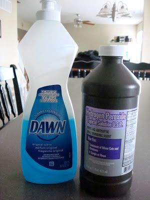 whitening whites: I soaked each of the socks in a 1 part Dawn to 2 parts hydrogen peroxide solution, scrubbing extra dirty spots with an old toothbrush dipped in baking soda as suggested.  I let the damp socks sit for over an hour, then washed in hot water.
