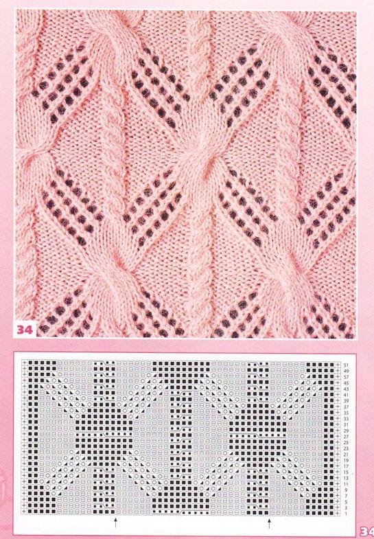 nice beautiful knitting stitch pattern lace aran ???????? ????? ?? ?????? cli...
