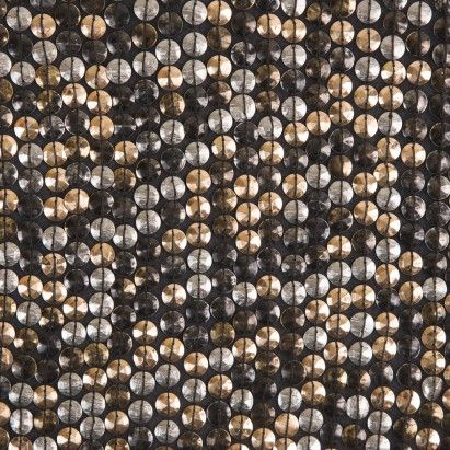 Phillip Lim Gold and Silver Cup Sequins on Black Silk Georgette Fabric by the…