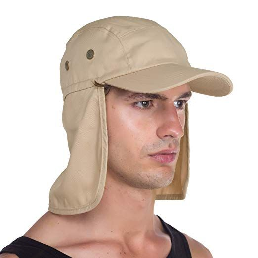 Top Level Fishing Sun Cap Uv Protection Ear And Neck Flap Hat Sand At Amazon Men S Clothing Store Sun Cap Flap Hat Hats