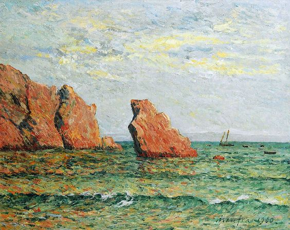 "maufra maxime lonely rock at morgat 1900 sotheby (from <a href=""http://www.oldpainters.org/picture.php?/30158/category/13215""></a>)"