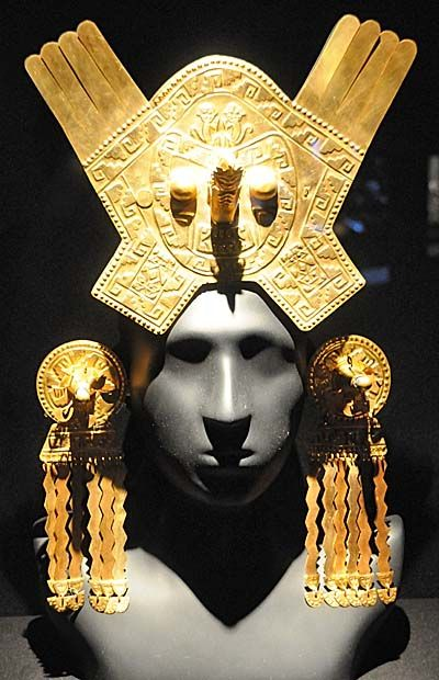 Inca jewelry on display at the Larco Archaeological Museum in Lima