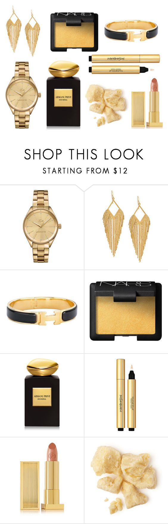 """""""Golden Essentials"""" by casperandcoal ❤ liked on Polyvore featuring beauty, Lacoste, Panacea, Hermès, NARS Cosmetics, Giorgio Armani, Yves Saint Laurent, Lipstick Queen, BeautyTrend and Beauty"""