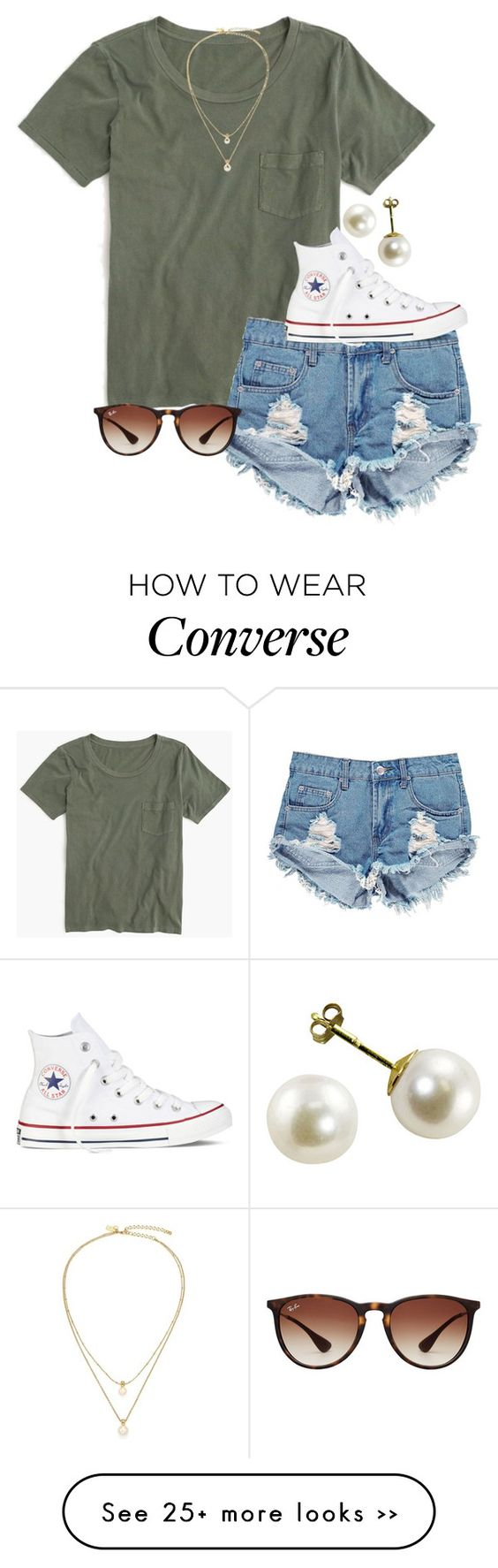 """"""""""" by econgdon on Polyvore featuring J.Crew, Boohoo, Kate Spade, Converse and Ray-Ban"""