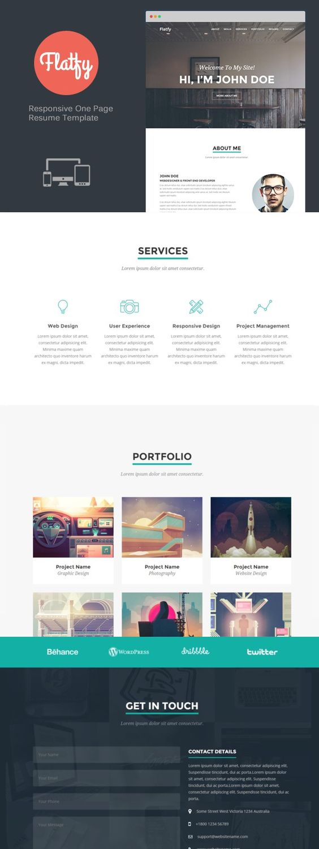 Flatfy - Responsive Resume / CV. Bootstrap Templates. $10.00