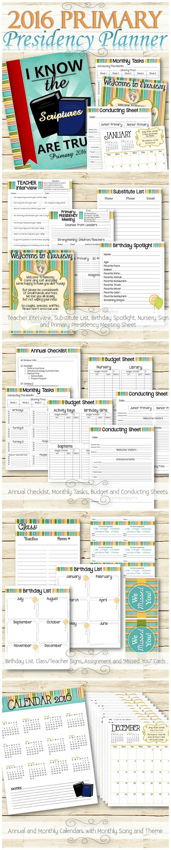 "A cute and simple way to make managing all the responsibilities and tasks in the LDS Primary Presidency Program easy. This 2016 all-in-one planner includes monthly songs, themes, calendars, task lists and more!   Planner Includes 31 Pages (Measures 8.5""x11"") - Annual Checklist - Monthly Task List - Budget Sheets - Conducting Sheet and more!"