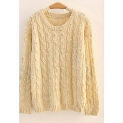 $11.70 Simple Design Round Neck Elbow Patch Cable Knit Sweater For Women