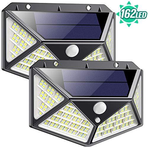 Luz Solar Exterior 162 Led Qtshine 2020 última Versión Foco Solar Con Sensor De Movimiento Gra Lamparas Solares Para Exterior Sensores De Movimiento Luz Tenue