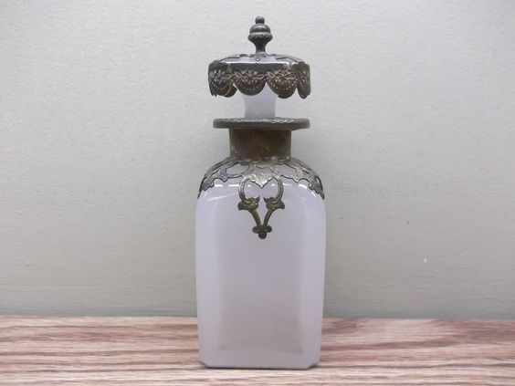 Antique Victorian ERA Rose Water Perfume Bottle With Hand Hammered Brass | eBay