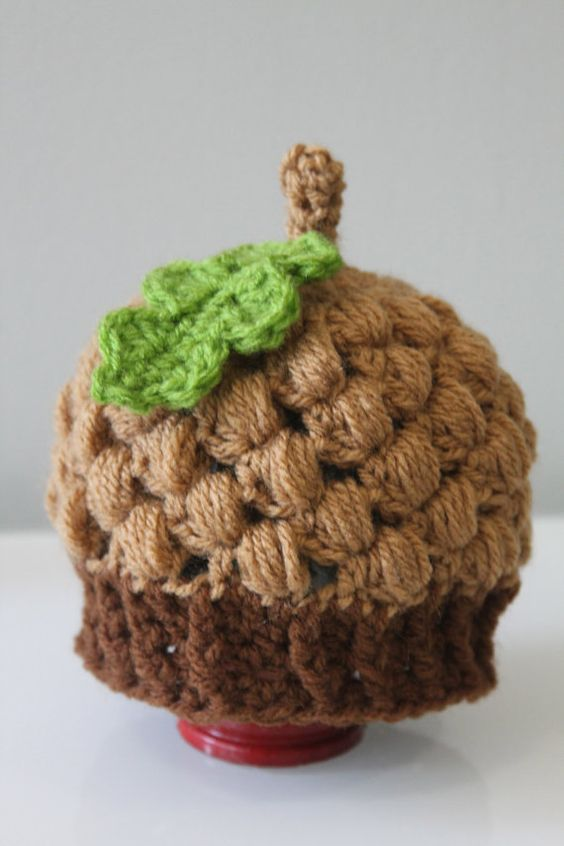Knitting Pattern For Acorn Hat : Crochet Acorn Hat with Leaf PDF Pattern 4 by ...