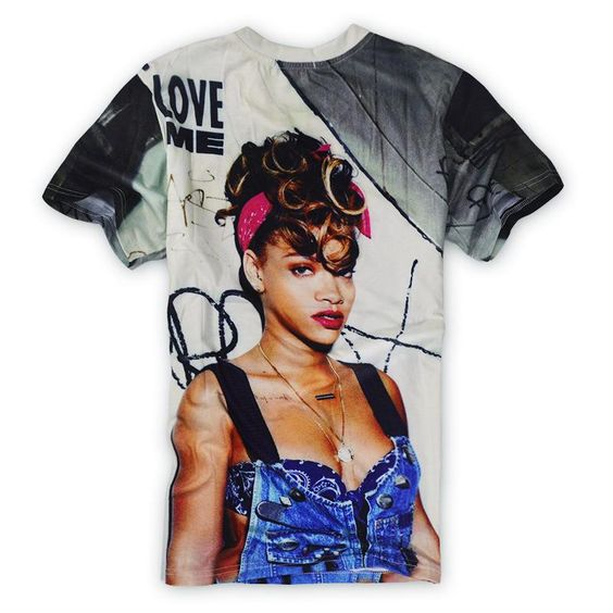 In The Summer With Short Sleeves Rihanna Curly Hair Printing Loose Sweethearts Outfit Women's Clothing New The