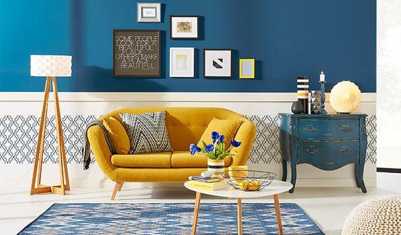 Wohnidee // Trendfarben Gelb und Blau