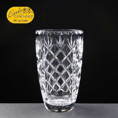 24% Lead Crystal Barrel Vase