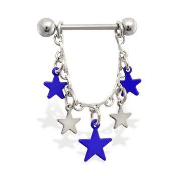 Pair of dangle nipple rings with blue stars.  #nipplering #nipple #bodyjewelry #piercings #nipplejewelry ♥ $15.99 via OnlinePiercingShop.com