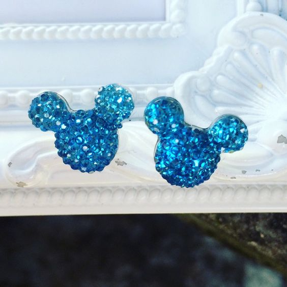 Minnie Mickey mouse rhinestone earrings jn navy blue. Available now at our shop.