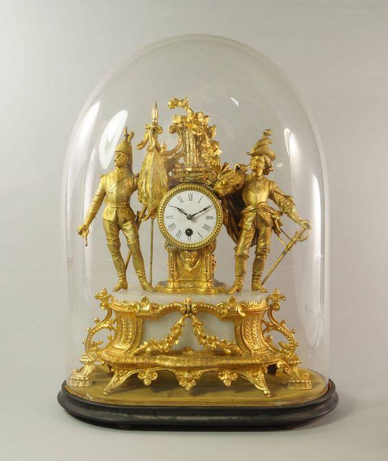 Relogio Frances em alabastro e bronze gilded a ouro do sec.19th,