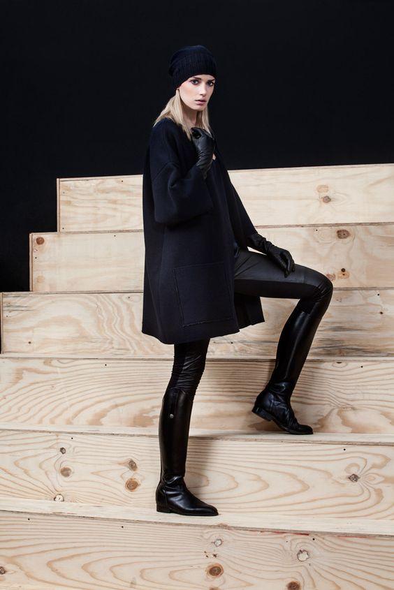 Preview #AlphaStudio #FW2014    Chanel coat in lana merinos con leggings in neoprene e pelle & hat tricot in lana merinos
