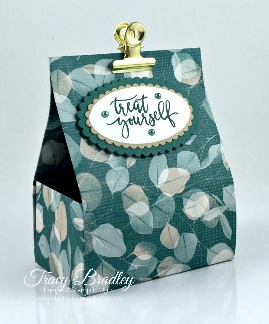 Ghirardelli Treat Holder featuring Nature's Poem Designer Series Paper by Stampin' Up! Created by Tracy Bradley www.stampingwithtracy.com