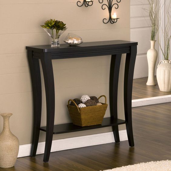 Small Accent Couch: Contemporary Sofa Table Shelf Cappuccino Accent Hallway