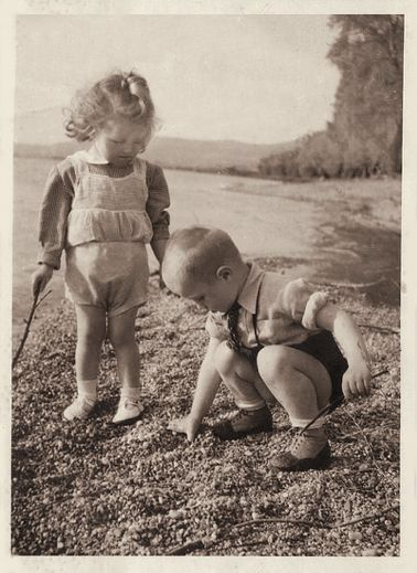 +~+~ Vintage Photograph ~+~+  Sweet siblings playing by the Danube, Hungary.  May 1943