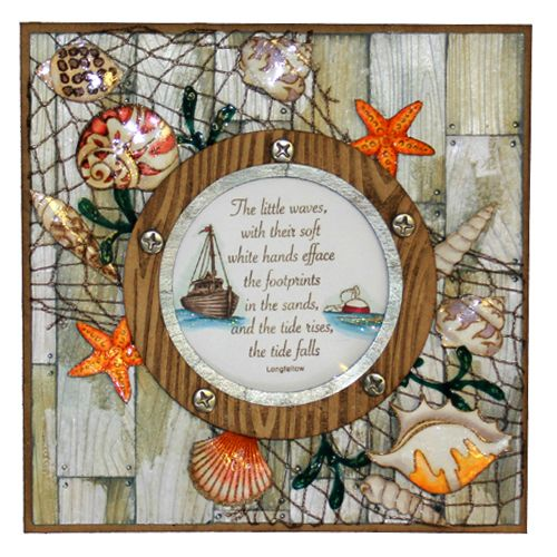 "This Card was made by Sally Dodger using the new ""Shells"" stamp set designed by Sharon Bennett for Hobby Art Stamps.:"