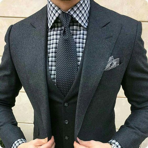 Black checks with black dotted tie