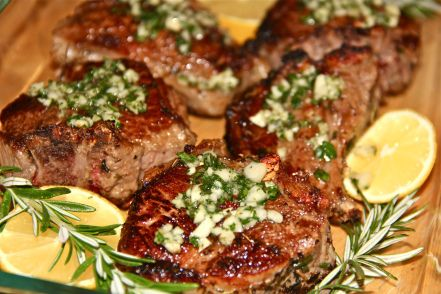 Lemon Rosemary Lamb Loin Chops - I made this for dinner tonight. I really liked popping the lamb in the oven for ten minutes. This allowed me to finish up the other parts of dinner and it came out looking beautiful.