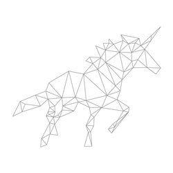 Sticker mural déco Licorne origami