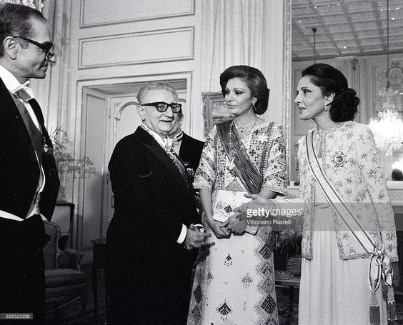 President of Italy Giovanni Leone with wife Vittoria (R) are welcome in Tehran by Mohammad Reza Pahlavi (L), the Shah of Iran, and his wife Empress Farah.