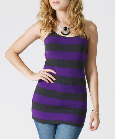 Another great find on #zulily! Charcoal & Purple Stripe Tank #zulilyfinds