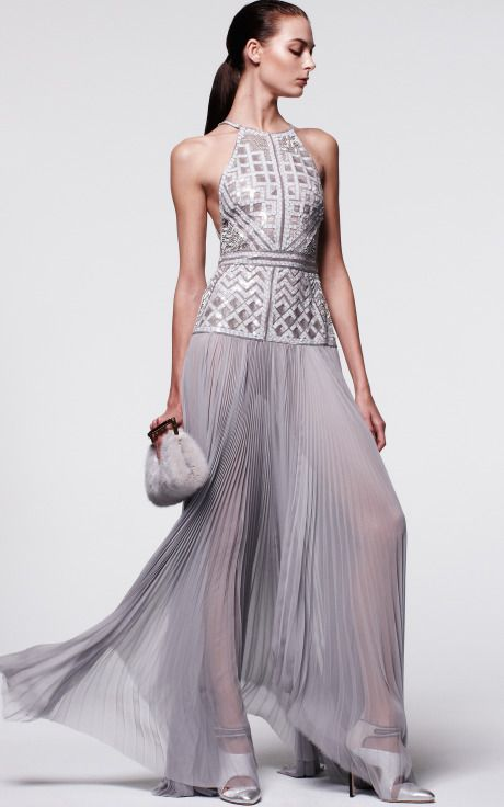 Halter Gown With Tonal Embroidered Bodice by J. Mendel for Preorder on Moda Operandi