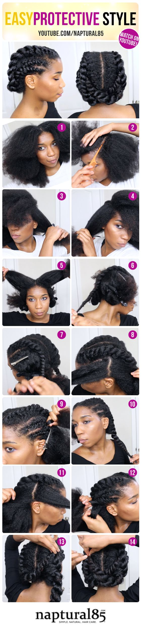 Naptural85 - Natural Hair Care Tips - Blog Content - Edgy Twisted Office Gym…