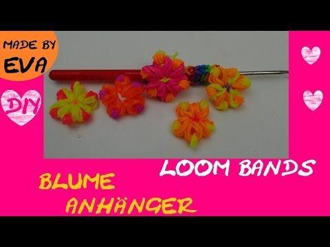 DIY Loom Blumen Anhänger mit Häkelnadel selber machen Anleitung deutsch rainbow loom flower Tutorial - YouTube