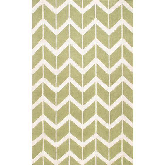 Chevron Flat-weave Lime Wool Area Rug (5' X 8')