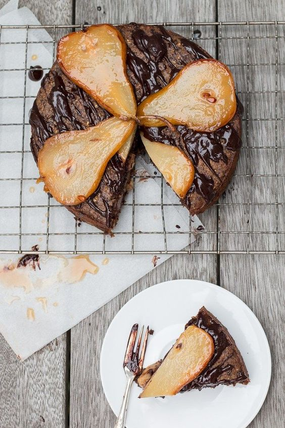 Dark Chocolate Pear Pistachio Cake| The Brick Kitchen