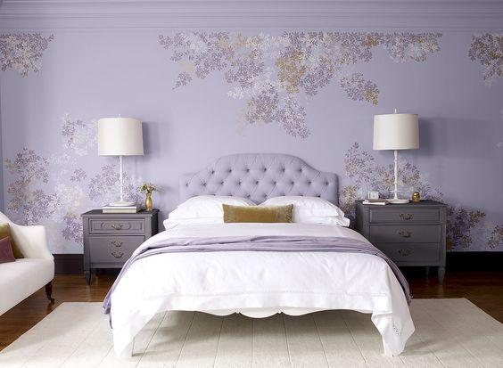 Purple Bedroom Ideas - Fresh, Floral Purple Bedroom - Paint Color Schemes