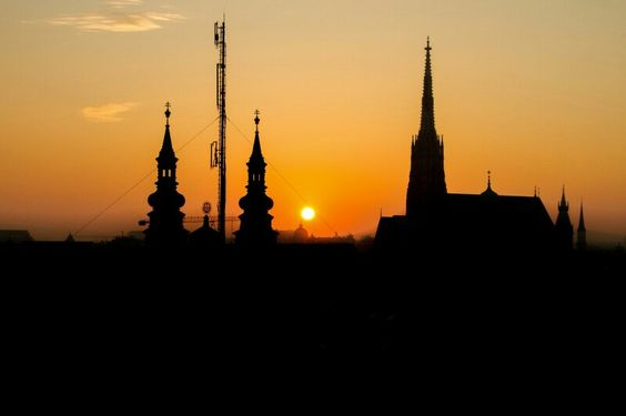 Sunset over the Stephansdom and the Jesuiten Church