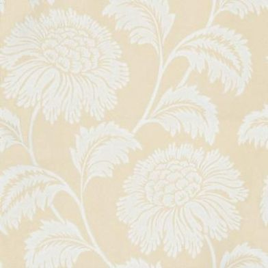 Cappella (75431) - Harlequin Wallpapers - A beautiful shaggy chrysanthemum all over floral design.  Available in a range of 11 colours. Shown here in white on a warm cream. Please ask for sample for true colour match.