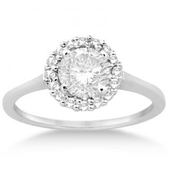 Floating Halo Diamond Engagement Ring Setting Palladium (0.20ct) -allurez.com