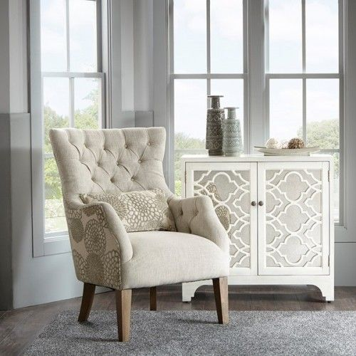 Beige Tufted Floral Backed Accent Chair Dining Room Chairs