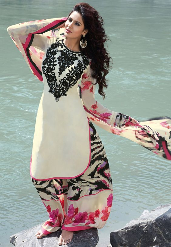 Cream Faux Crepe Semi Patiala Kameez Online Shopping: KWY659