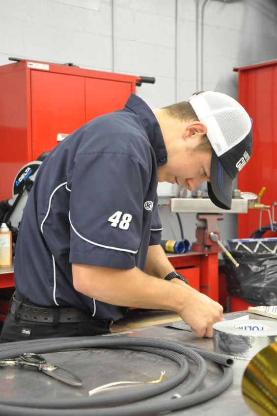 No. 88 interior mechanic Adam Jordan working hard in the shop today and getting things ready for Martinsville Speedway.