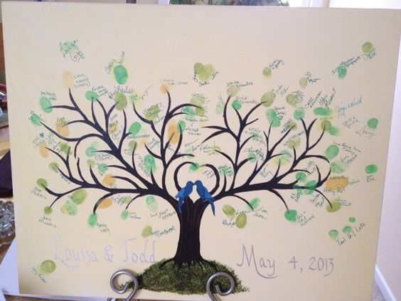 Guest Book Fingerprint Tree I created this tree in photoshop, cutout glued to the painted canvas, the painted more branches.  Seeing our guests gather around the table to sign the canvas was such a joyous moment.  Thanks Ellie for adding the calligraphy.