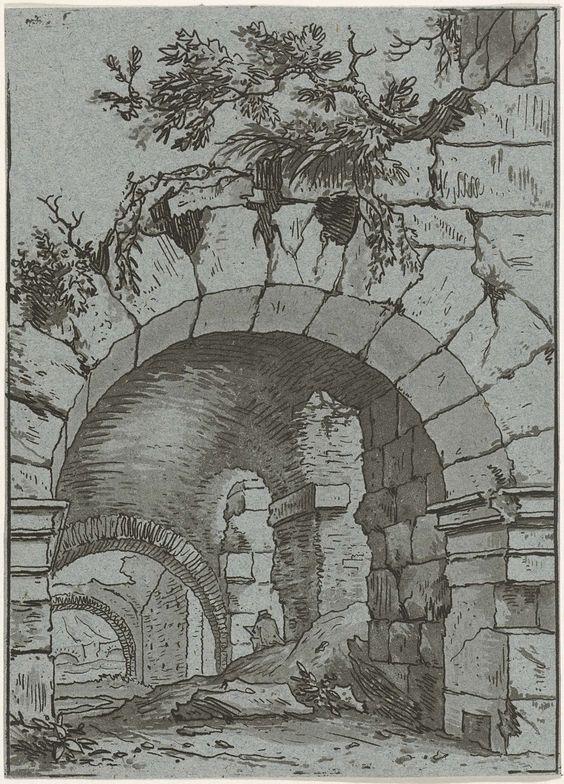 Hermanus Fock | Tekenaar in het Colosseum, Hermanus Fock, 1781 - 1822 | Gezicht op de tongewelven van een ruïne, waar halverwege een persoon met een schetsblad zit.