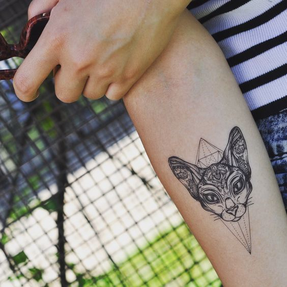 Geometric mixed tribal cat head animal temporary tattoo sticker on arm